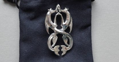 Scottish Kelpies in rhodium plated brass