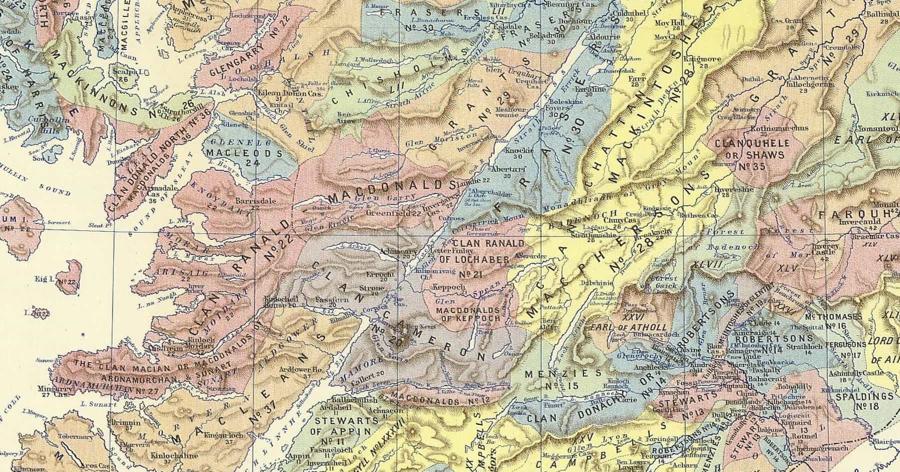 Clan Map of the Highland Clans of Scotland
