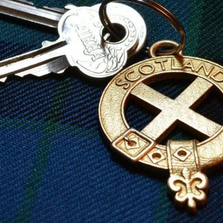 Saltire keyring in steel with gold electroplate.