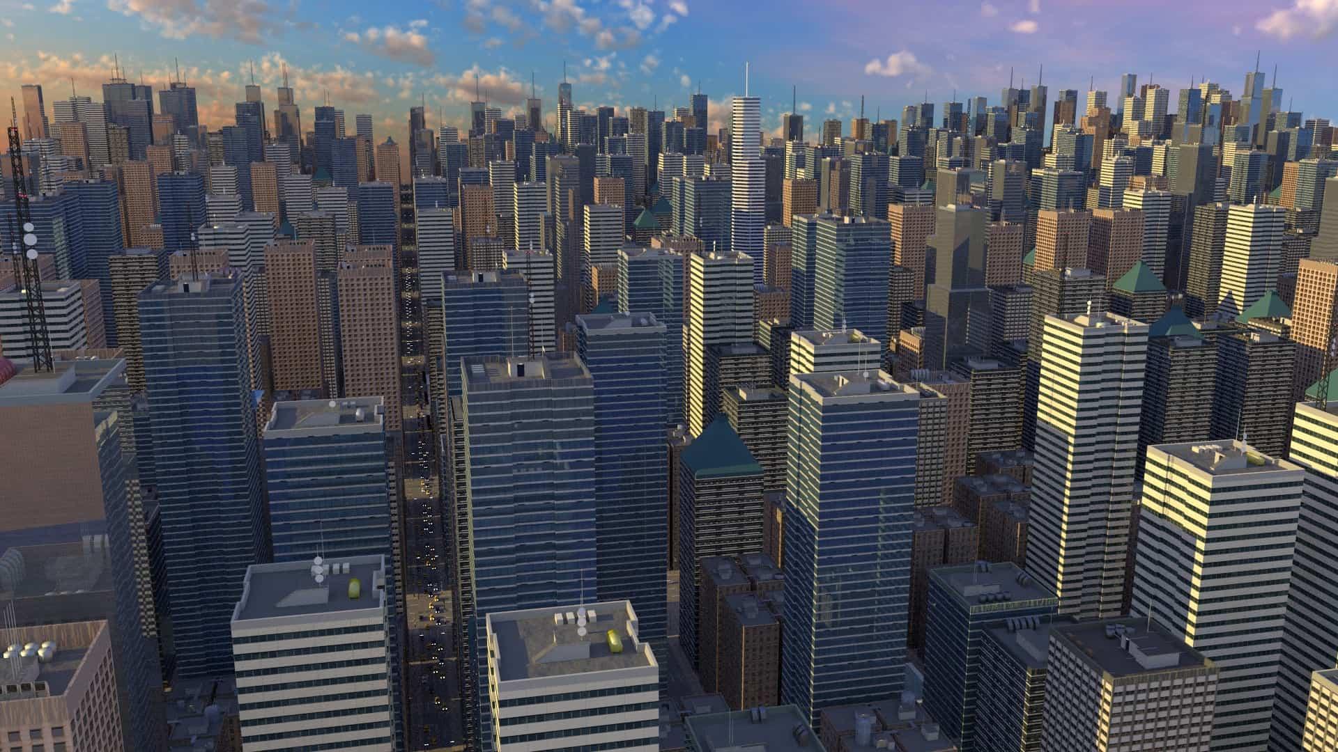 3d city scene created in Blender