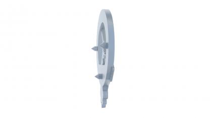 Rear detail showing 3x 3mm diameter fixing pegs