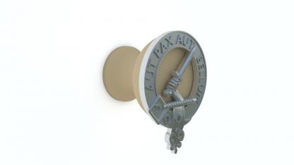 cabinet or drawer knob with metal Clan Gunn crest