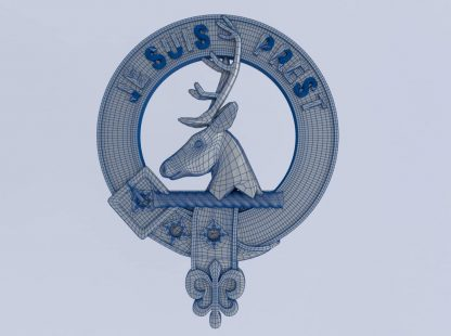Fraser of Lovat clan crest - 3d model wireframe - Je Suis Prest