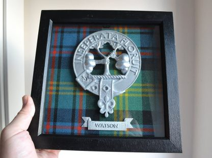 Clan Watson plaque and tartan