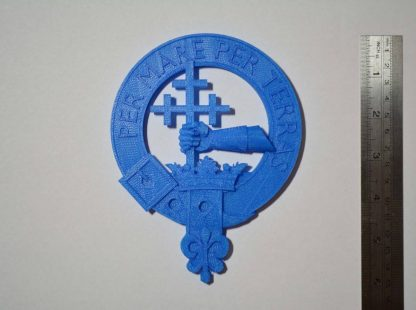 MacDonald plaque 3d printed in PLA, showing scale
