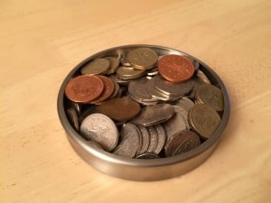 A tray of loose coins