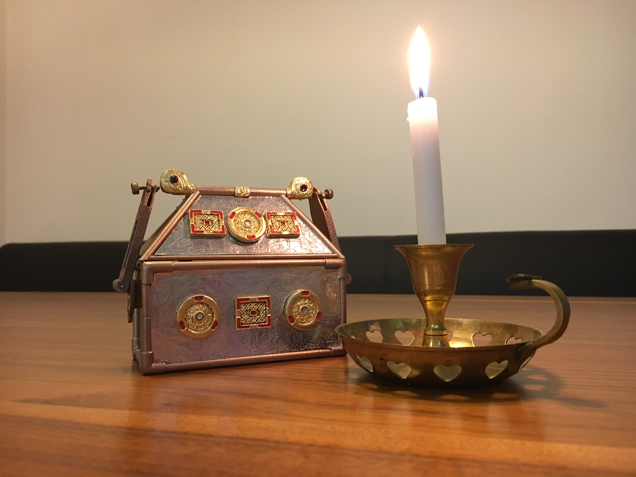 Replica Monymusk Reliquary with candle