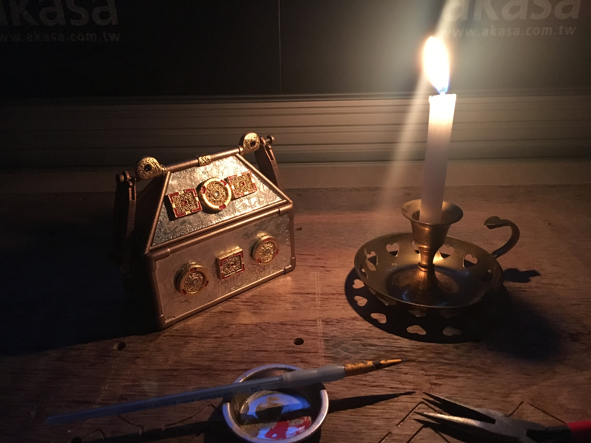Replica Monymusk Reliquary by candlelight
