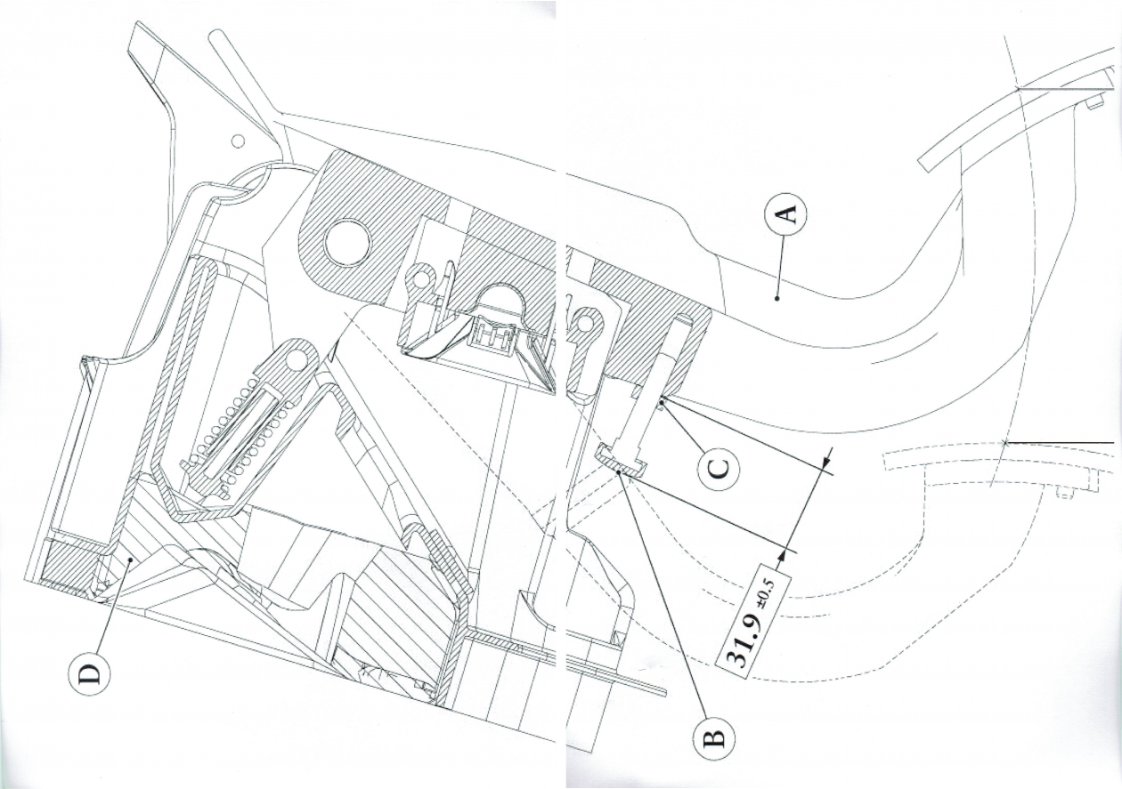 2d drawing of a Ferrari clutch pedal arm